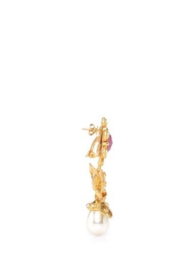Valere Valere Fiyonk Formlu Taşlı Kadın Küpe Altın